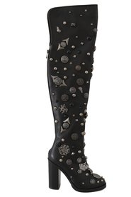Leather Logo Studded Boots