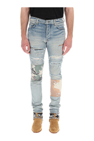 military art patch jeans