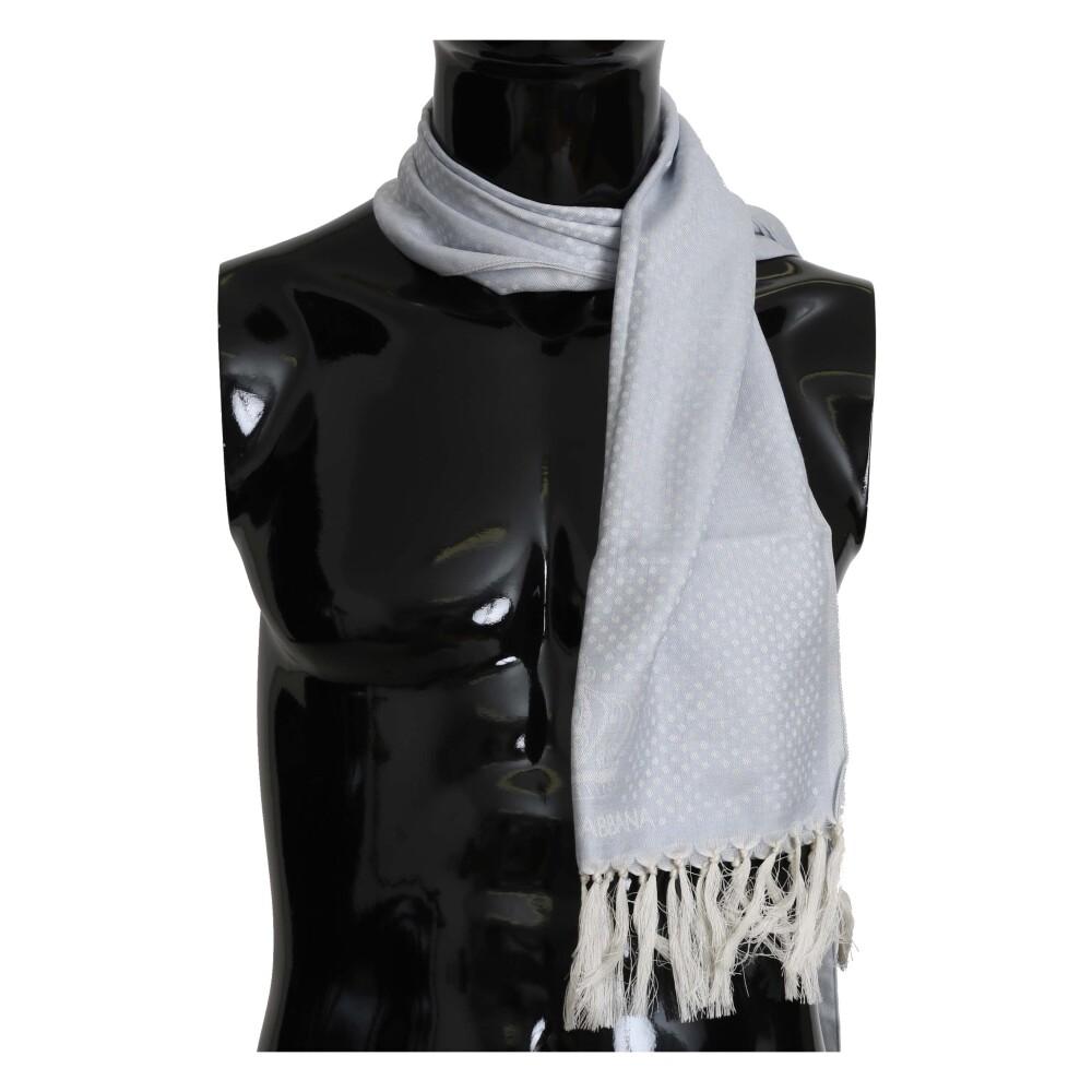 Blue Silk Logo Fringes Wrap Scarf | Dolce  Gabbana | Sjaals | Heren accessoires