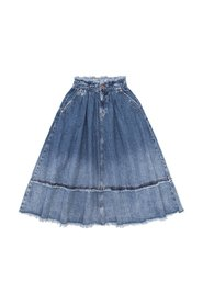 Raw-trimmed denim skirt
