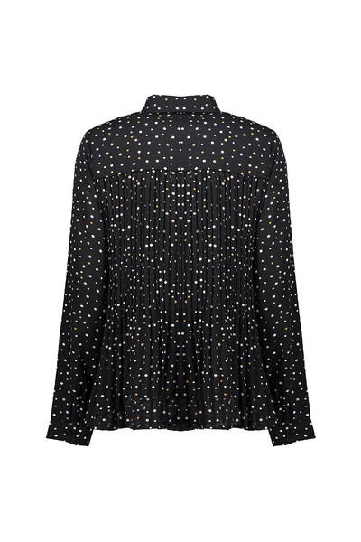 Black pleated blouse dotted Geisha Blouses