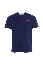 PLAY blue T-shirt with double heart