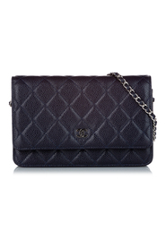 Pre-owned Matelasse Caviar Leather Wallet On Chain