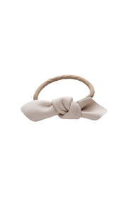Leather bow small hair tie