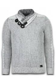 Knitted Men's Pullover Exclusive Scarf Collar Buttons