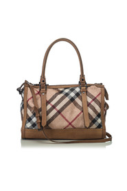 Embossed Leather Check Satchel