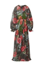 Floral-print Crinkled Gown