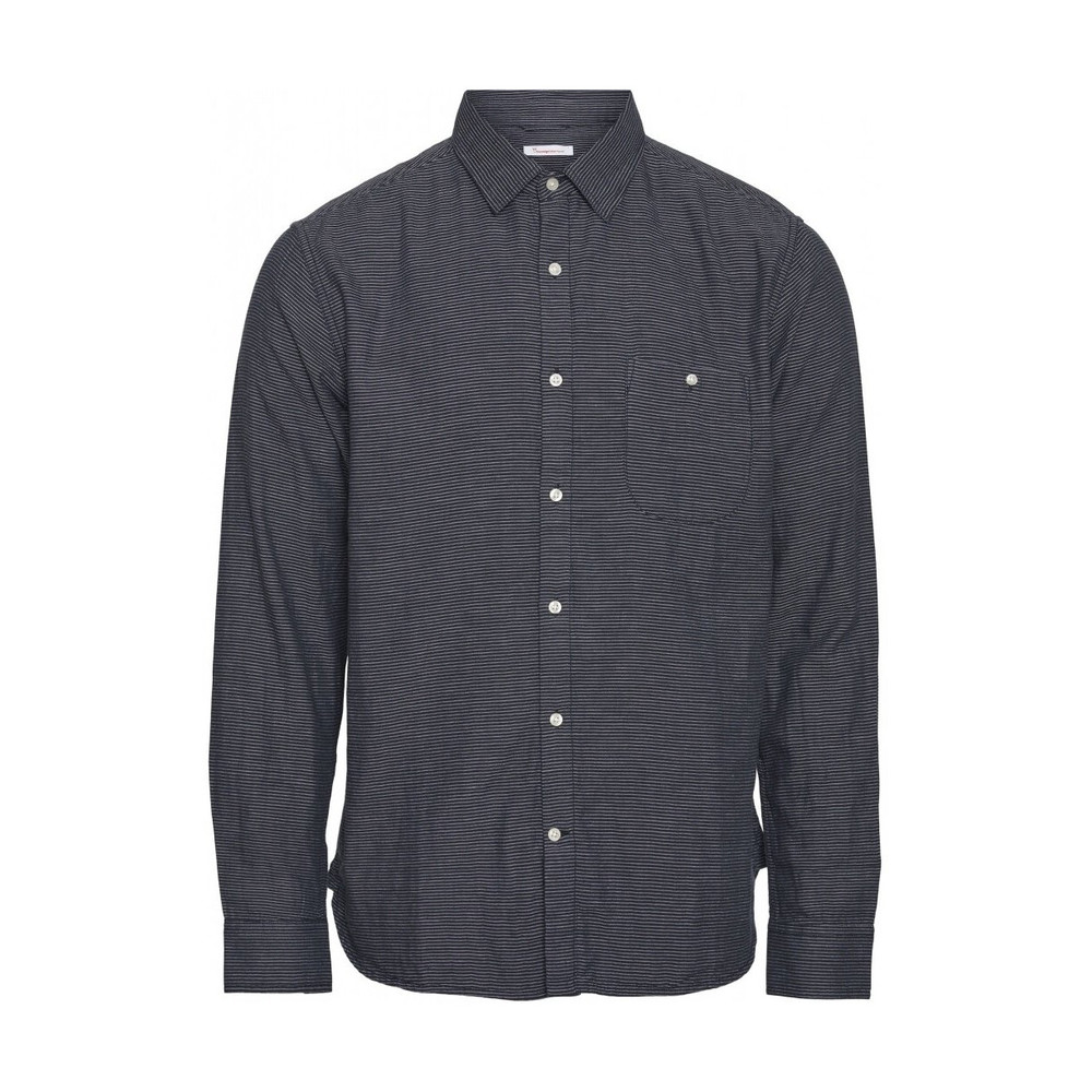 1001-NAVY ALDER STRIPED TEE  Knowledge Cotton Apparel  T-shirts