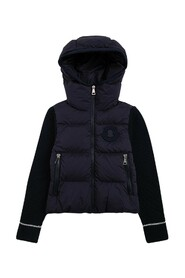 Panelled hooded puffer jacket