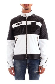 BIKKEMBERGS CH11780D1180 Coat Men BLACK WHITE
