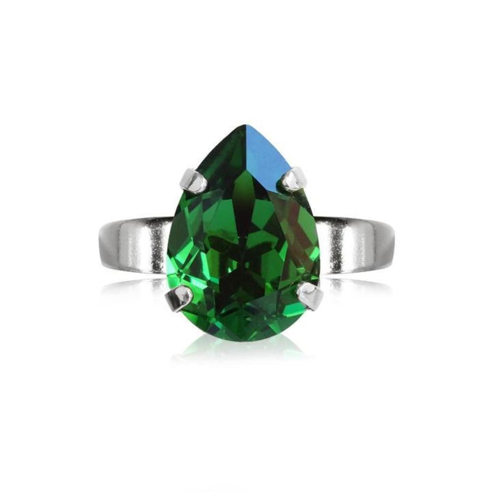 Caroline Svedbom Mini Drop Ring Moss green silver