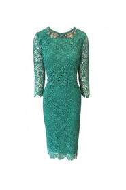 S / S LACE DRESS WITH STONE NECK