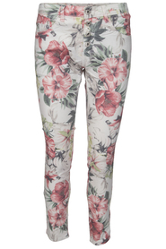 Chica London blommiga stretchjeans benvit/flower