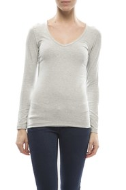 Claesens Ladies V neck t-shirts l/s grey