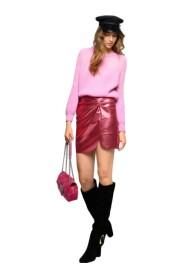 Minifalda Laminada Con Fruncido