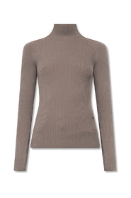 Ribbed top with standing collar
