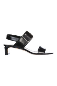 women's leather heel sandals