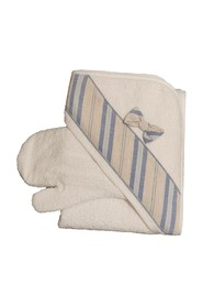 BABY BATHROBE WITH STRIPED BAND GLOVE