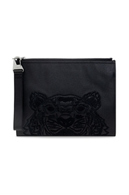 Logo-embroidered clutch