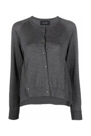 A-LINE CARDIGAN WITH BUTTON PLACKET DETAIL