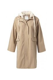 Parka coat with detachable hoodie and front pockets