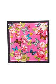Butterfly Floral Print Silk Square Scarf