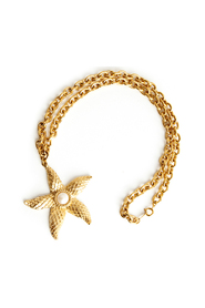 Gold tone sea star necklace