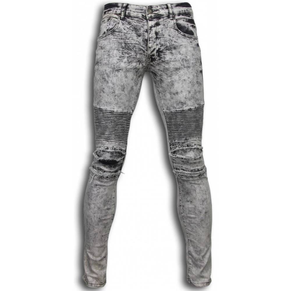 Exclusive Ripped Jeans - Slim Fit Biker Jeans Lined Knæpuder