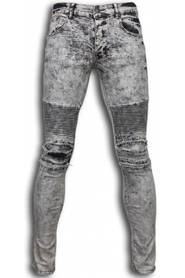 Exclusieve Ripped Jeans - Slim Fit Biker Jeans Lined Knee Pads