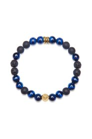 Men's Wristband with Blue Tiger Eye, Lava Stone, Matte Onyx, and Gold Feather Beads