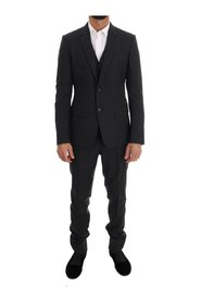 Patterned Wool 3 Piece Slim Suit