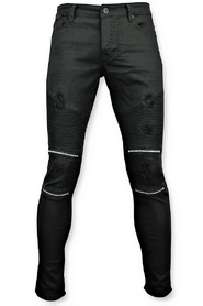 Skinny biker jeans with rips - 3011