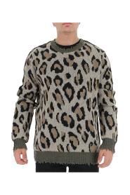 Leopard print chewed sweater