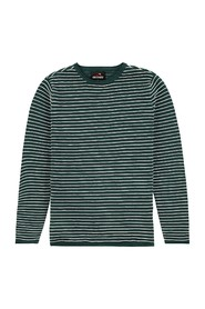 KNIT STRUCTURE STRIPE O-NECK