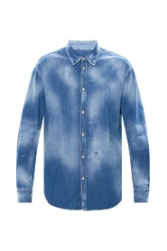Raw edge denim shirt
