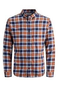 ESSENTIALS JJEWASHINGTON SHIRT L / S STS Umber / SLIM FIT