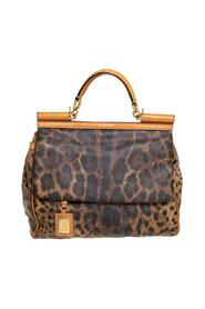 Leopard Print Coated Canvas and Leather Large Miss Sicily Top Handle Bag