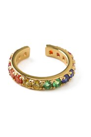 Pave Rainbow Single Ear Cuff Accessories