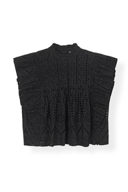Ganni sort Broderie Anglaise Top