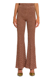 lamé knitted flared trousers
