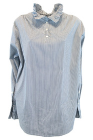 Cotton shirt with gathered standing collar
