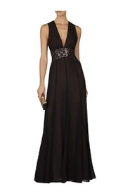 Stacy Plunging V Neck Embellished Waist Gown JGK64C98-001