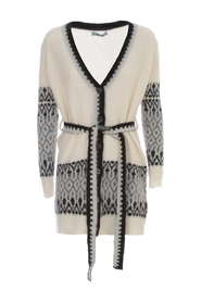 PRINTED CARDIGAN BELT AND SWAROVSKY