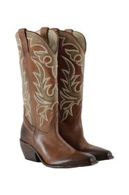 women's leather cowboy boots with embroidery
