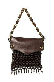 pre-owned Leather and Suede Beaded Fringed Shoulder Bag