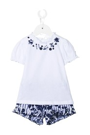 T-shirt and Shorts Suit with Floral Print