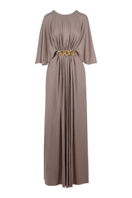 Empire-waist gown with light gold chain