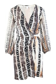 Long Sleeves Animal Print Wrapped Dress