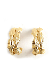 Vintage 80-90's half hoop leaf earrings