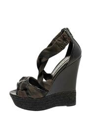Pre-owned Check Canvas And Leather Espadrilles Platform Wedge Sandals